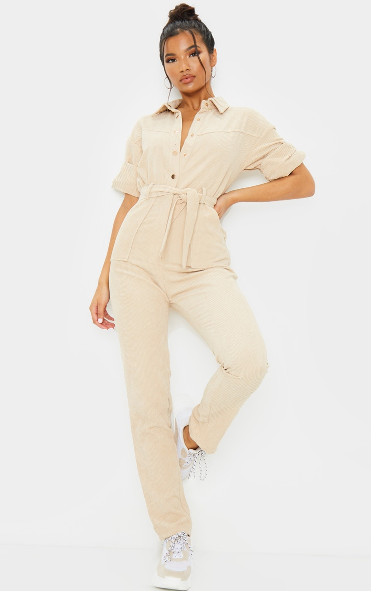 Stone Button Front Short Sleeve Cord Jumpsuit 3