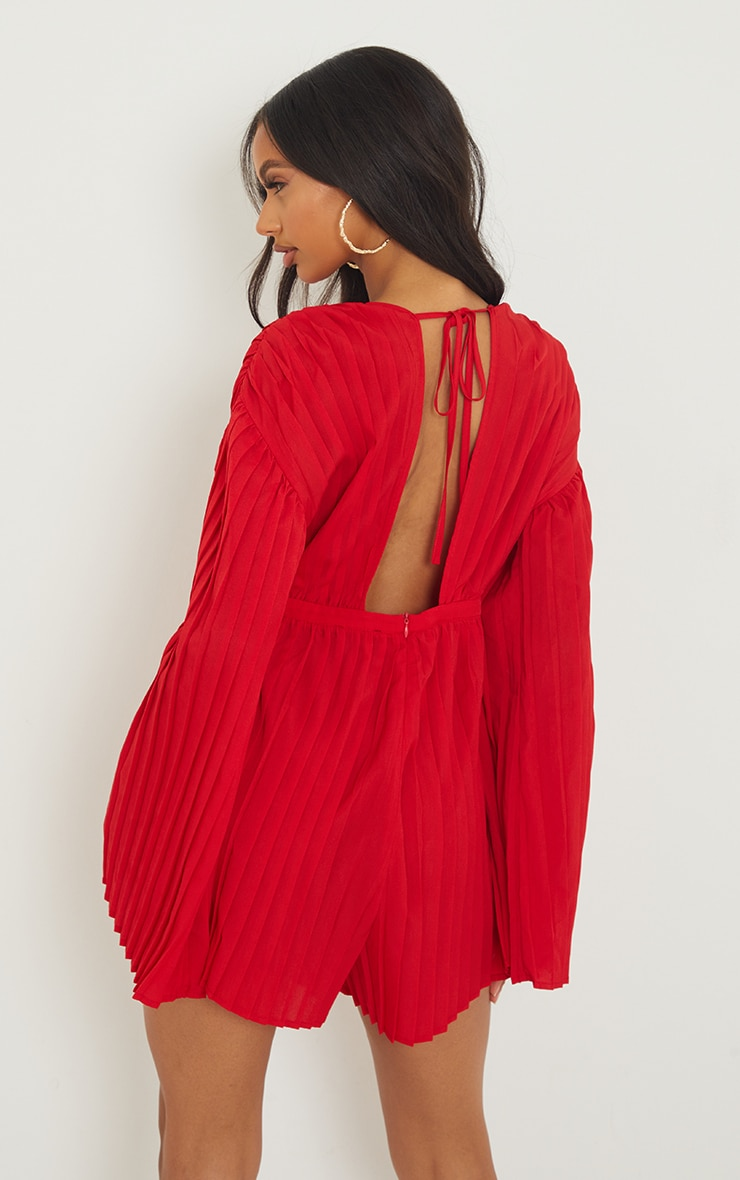 Red Plunge Pleated Playsuit 2