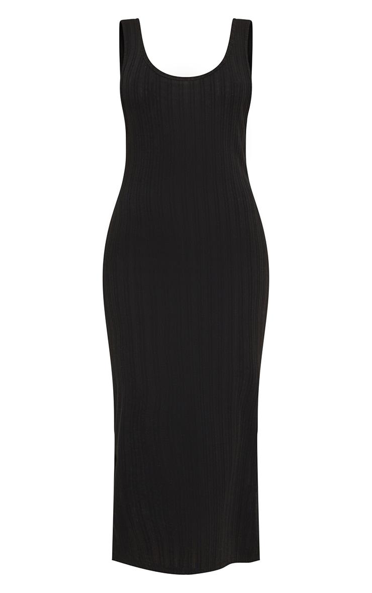 Black Knitted Rib Scoop Detail Split Midi Dress 5