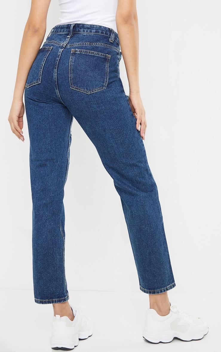 Dark Vintage Wash Thigh Slit Long Leg Jeans 3