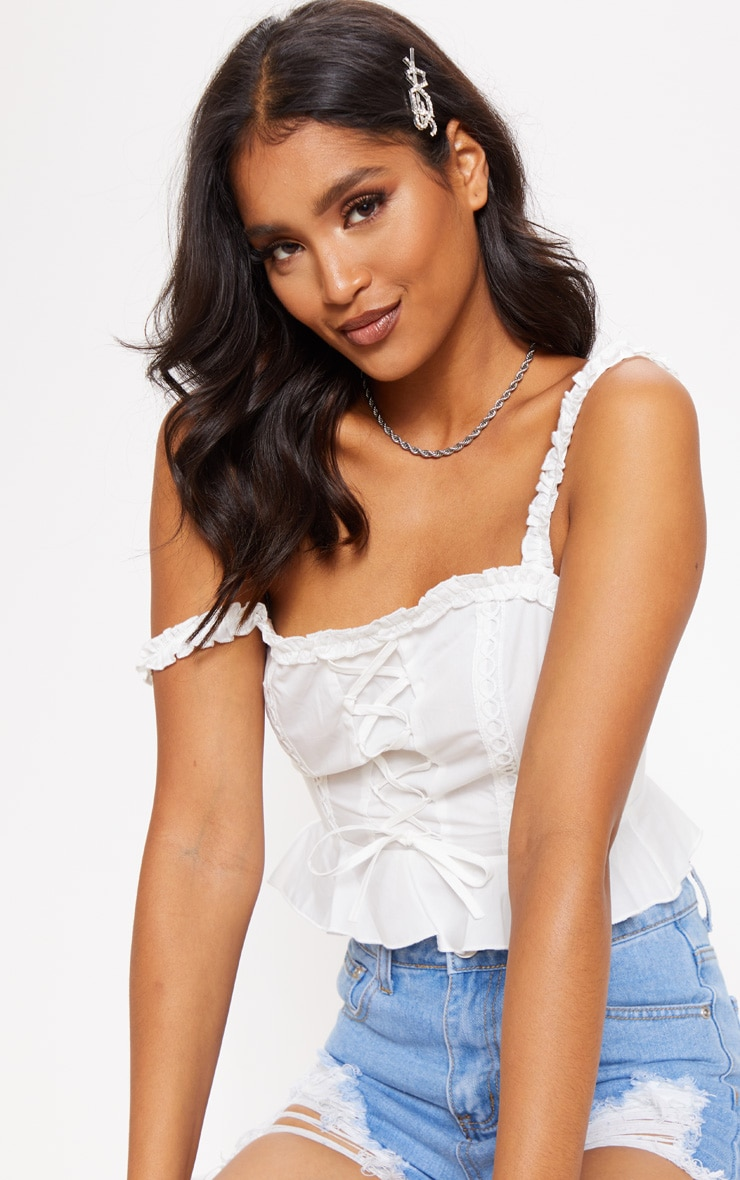 White Crochet Lace Up Cami Top 4