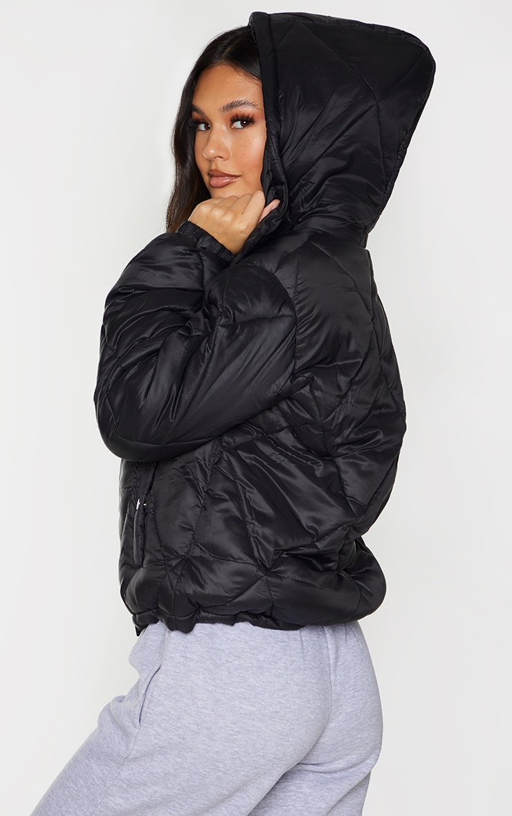 Black Nylon Diamond Quilted Hooded Puffer Jacket 2