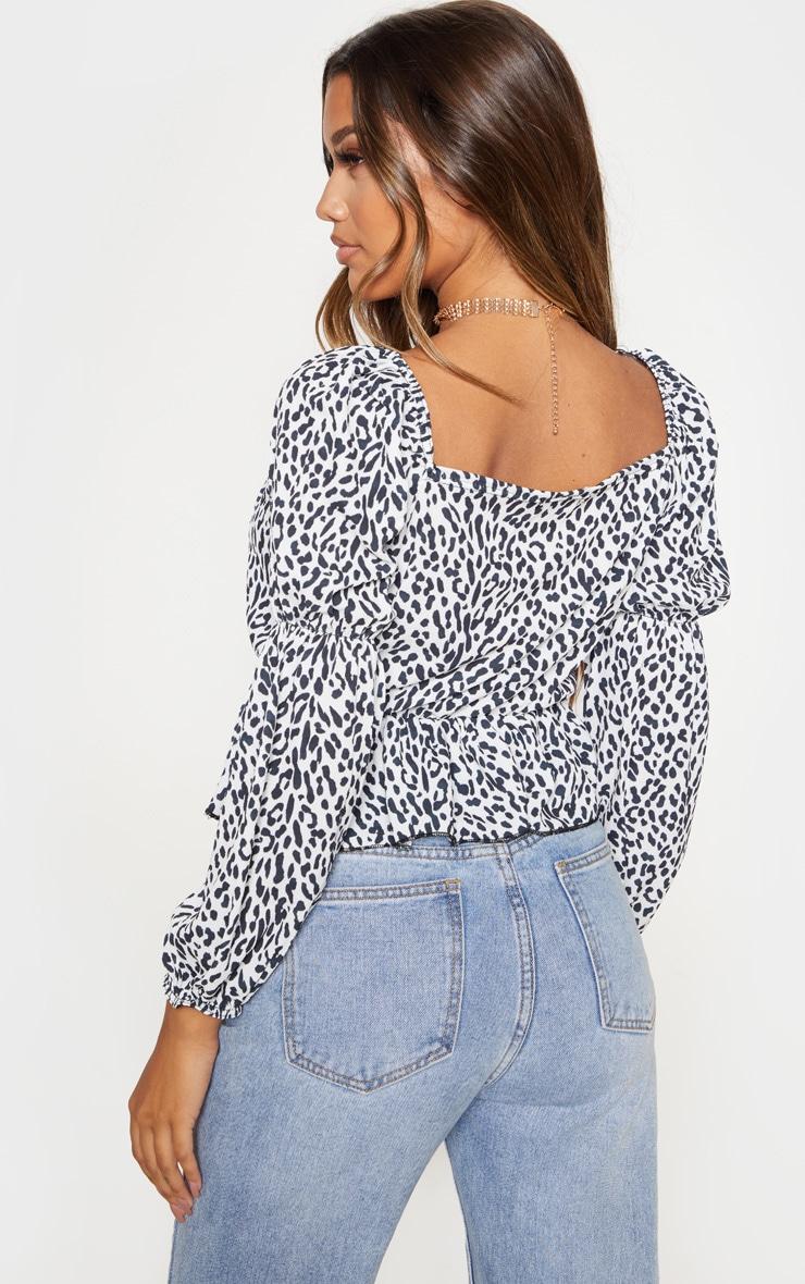 Mono Leopard Printed Frill Square Neck Blouse 2