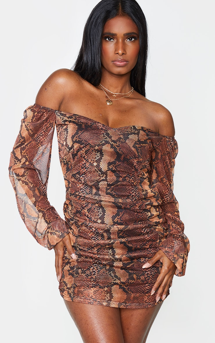 Brown Snake Print Mesh Double Ruched Long Sleeve Bodycon Dress 1