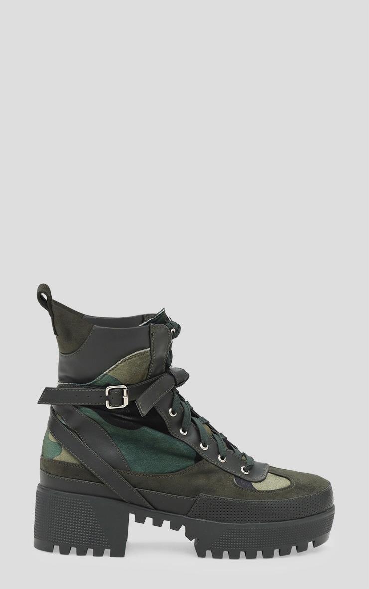 Khaki Camouflage Biker Boots 3