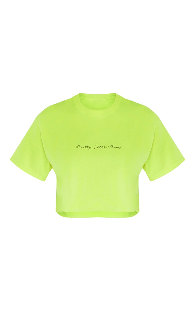 PRETTYLITTLETHING Tall Neon Lime Slogan Cropped T-Shirt 3