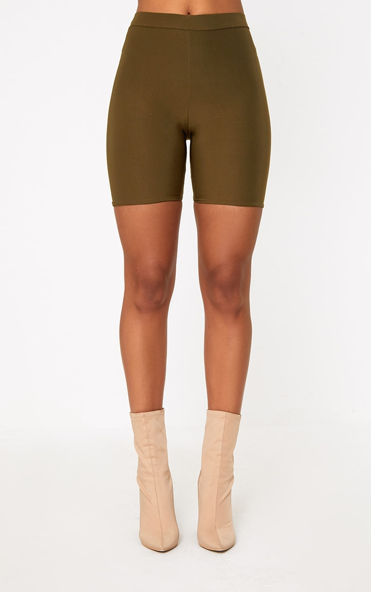 Bella Khaki Slinky High Waisted Bike Shorts 4