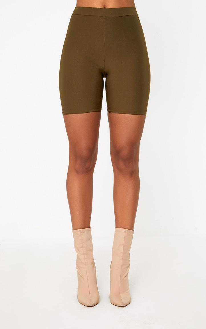 Short-legging kaki taille haute 4