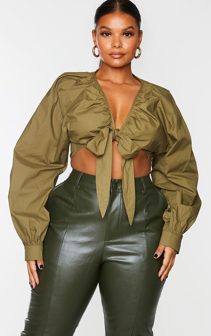 Plus Khaki Tie Front Ruched Blouse 3