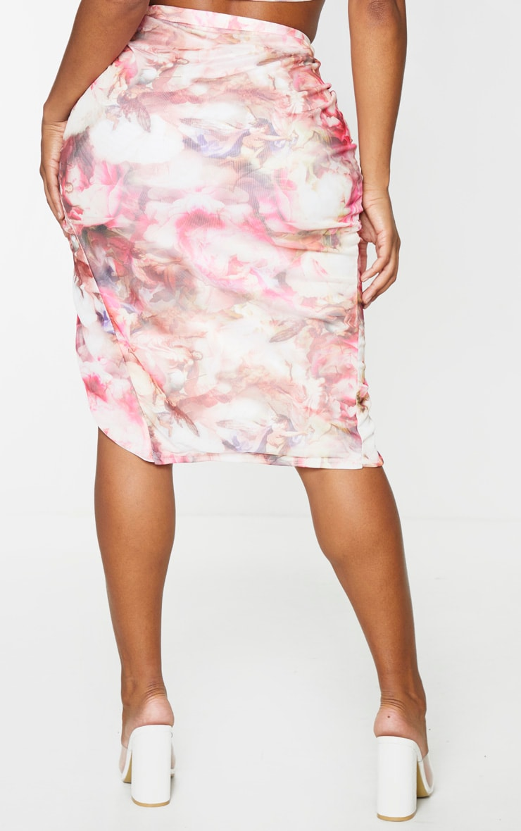 Shape Pink Floral Mesh Ruched Front Midi Skirt 3
