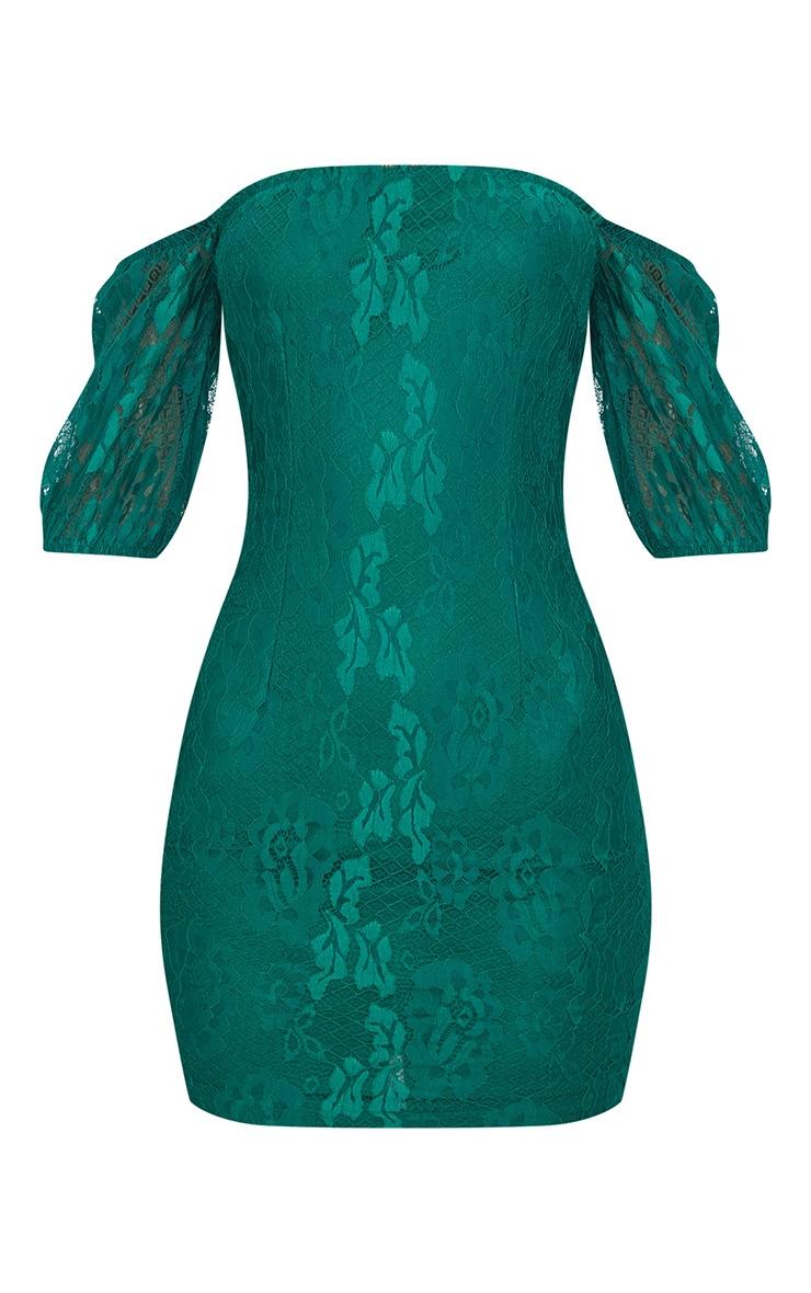 Emerald Green Lace Bardot Puff Sleeve Bodycon Dress 3
