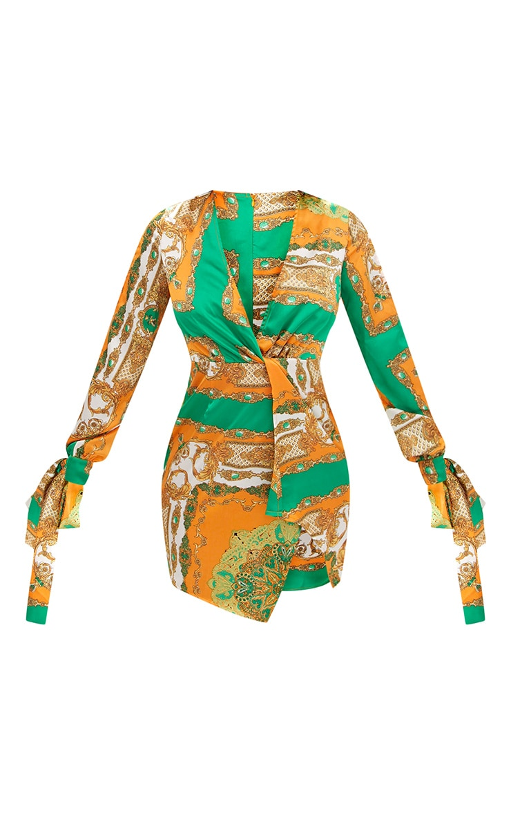 Green Printed Open Arm Knot Front Tie Sleeve Shift Dress 3