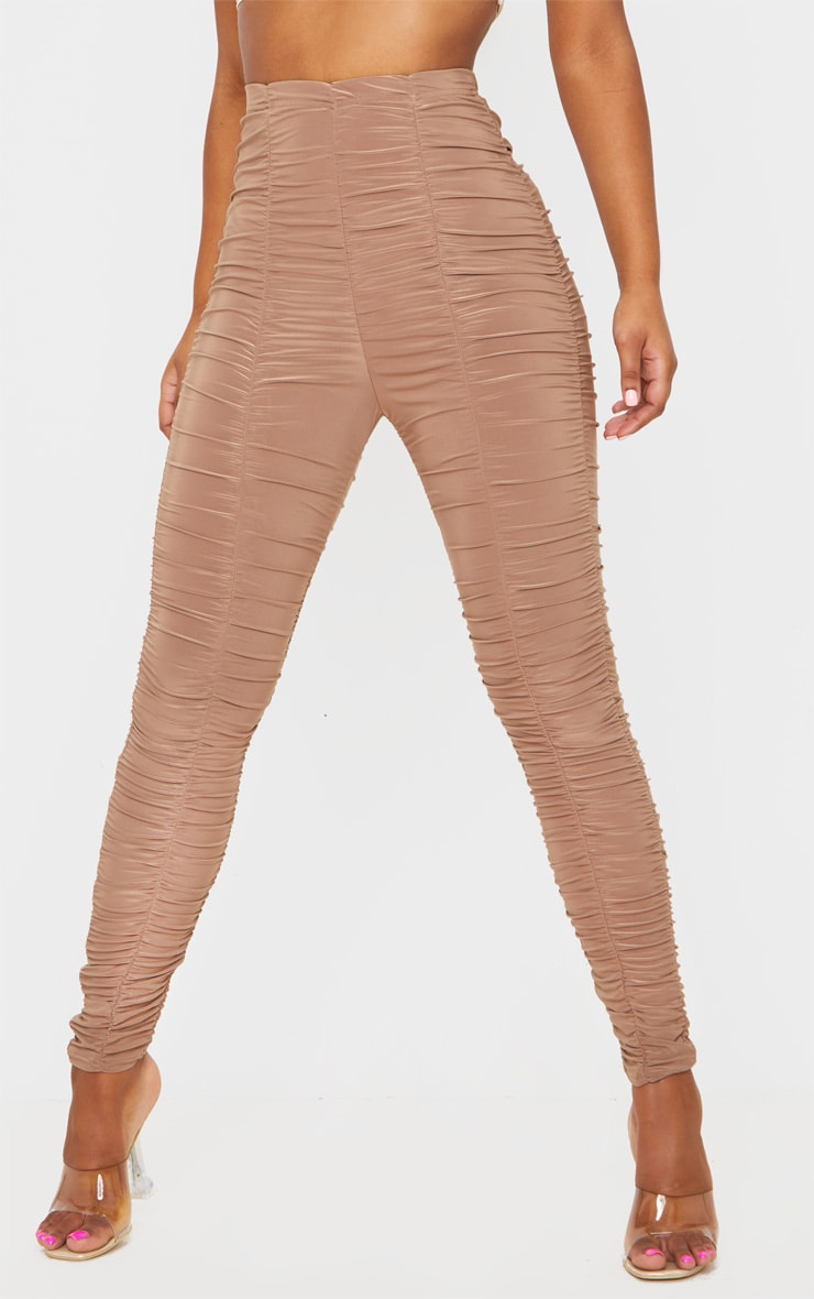 Camel Slinky Ruched Leggings 2