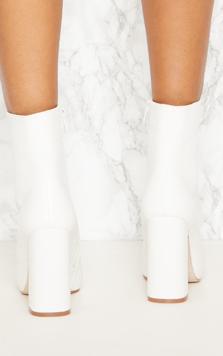 White Faux Snake Ankle Boot 5