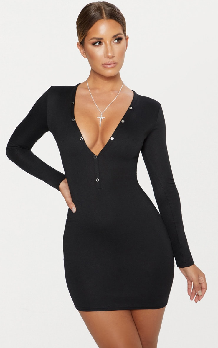 7fdd7ef3f8df Black Second Skin Ponte Button Down Bodycon Dress ...