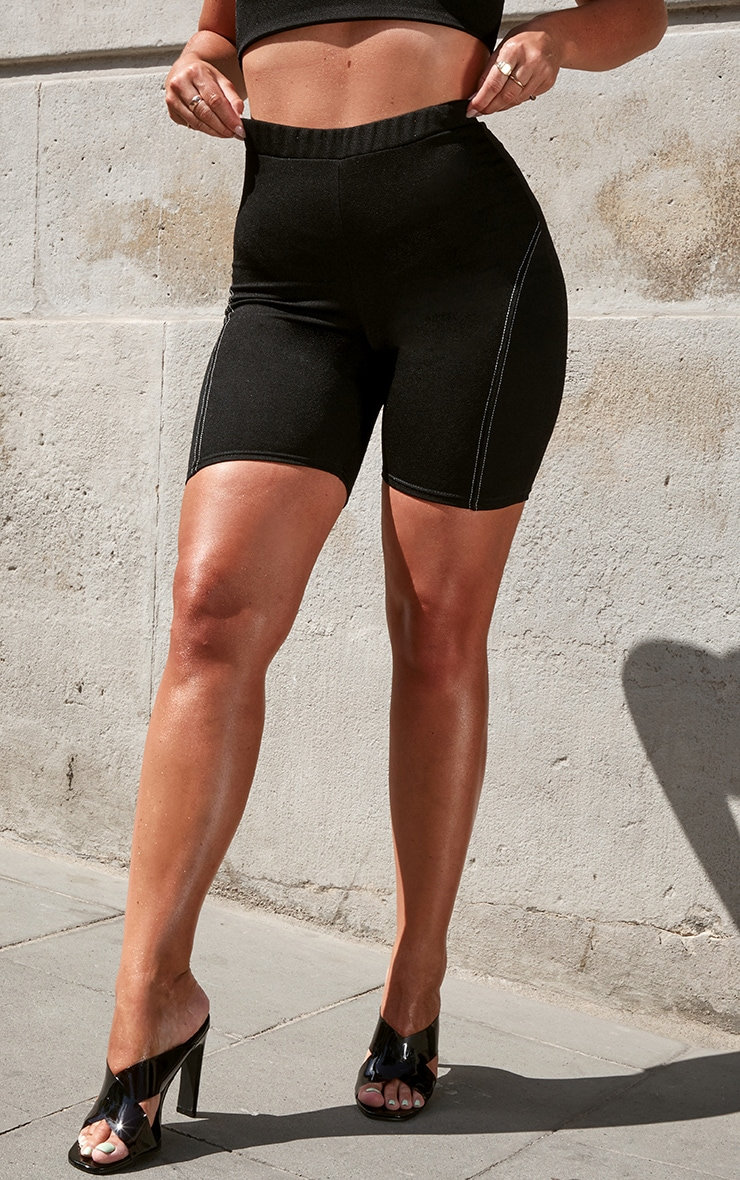 Black Contrast Stitch Longline Bike Shorts 2