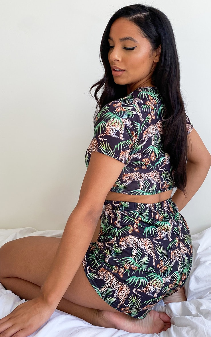 Black Tropical Leopard Print Shorts Pj Set 2