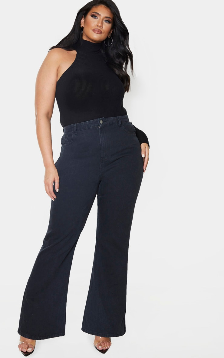 Plus Black High Waist Flared Jeans 1