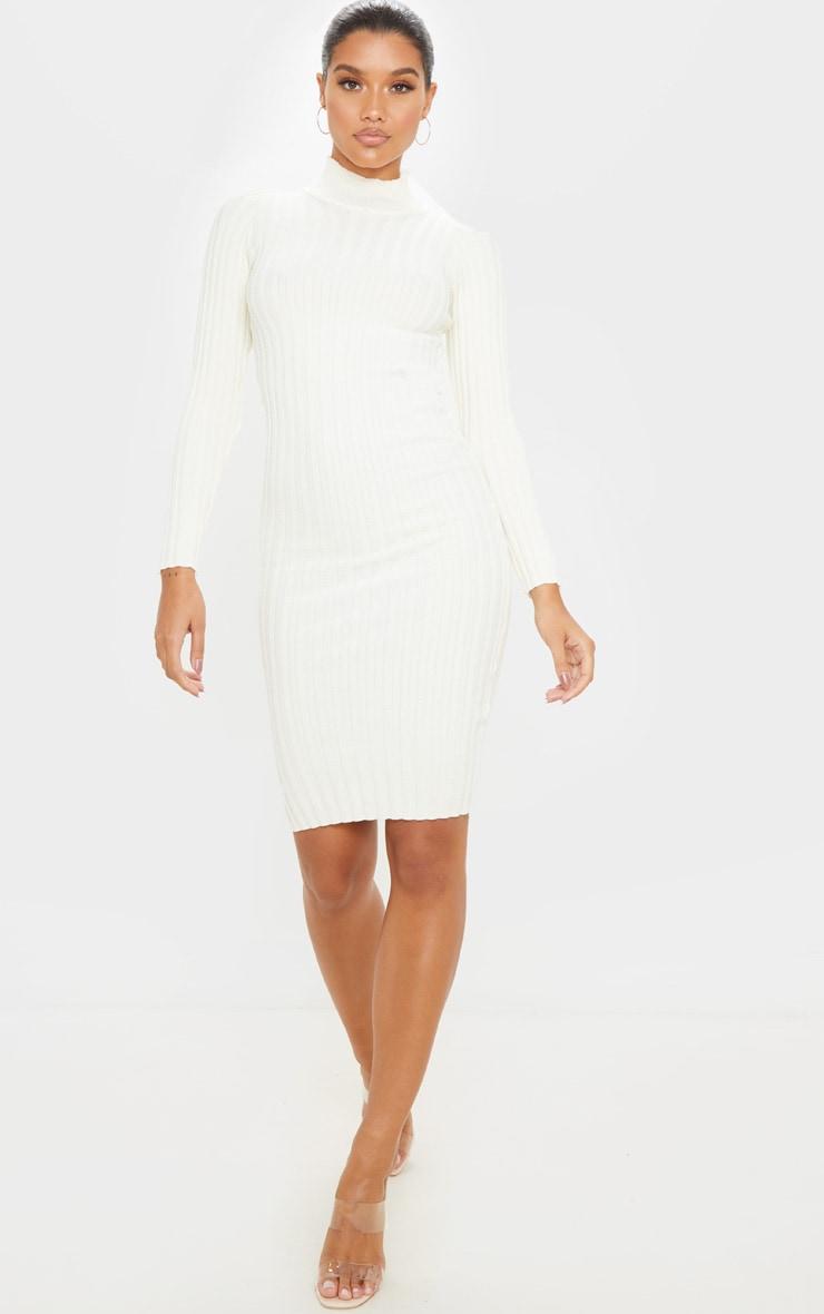 Ivory Stretch Knitted Bodycon Midi Dress 1