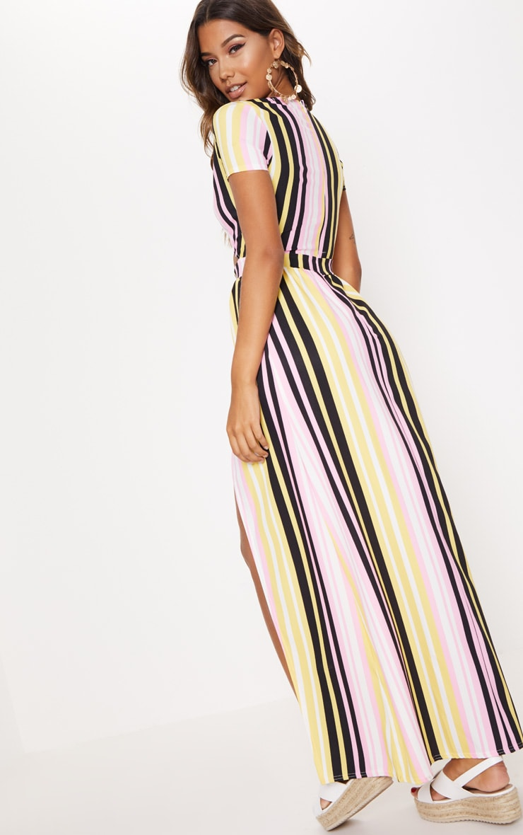 Multi Stripe Print Cut Out Maxi Dress 2
