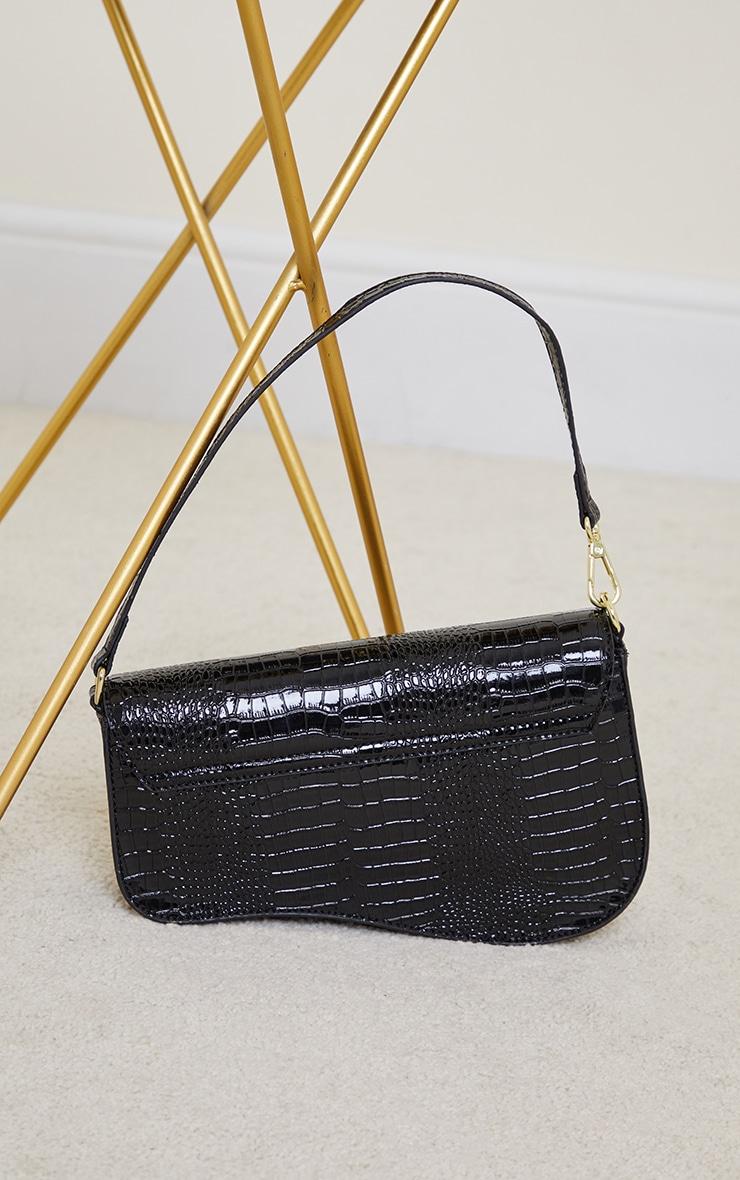 Black Croc Gold Buckle Saddle Bag 3