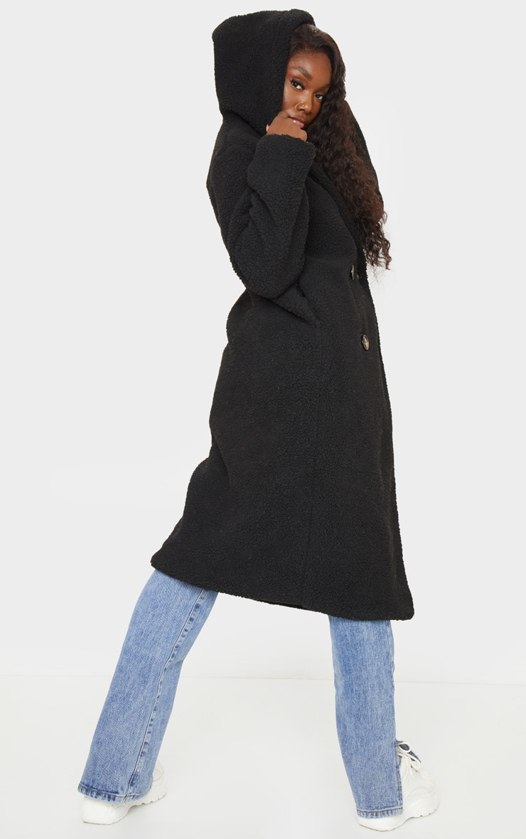 Tall Black Borg Hooded Midi Coat 2