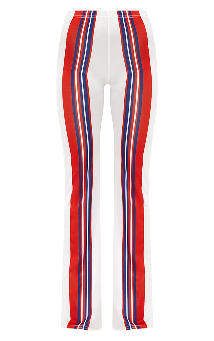 Petite Red Slinky Stripe Flared Trousers 3