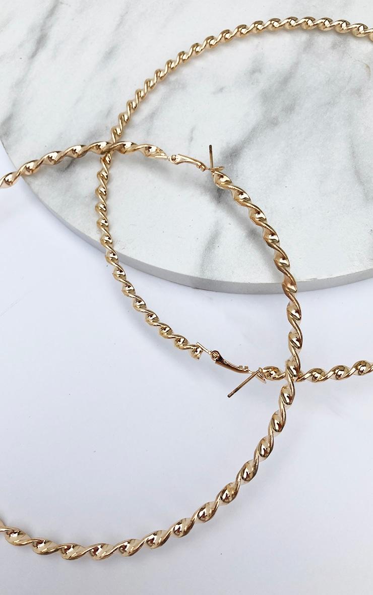 Brynn Gold Big Twisted Metal Hoop Earrings 3