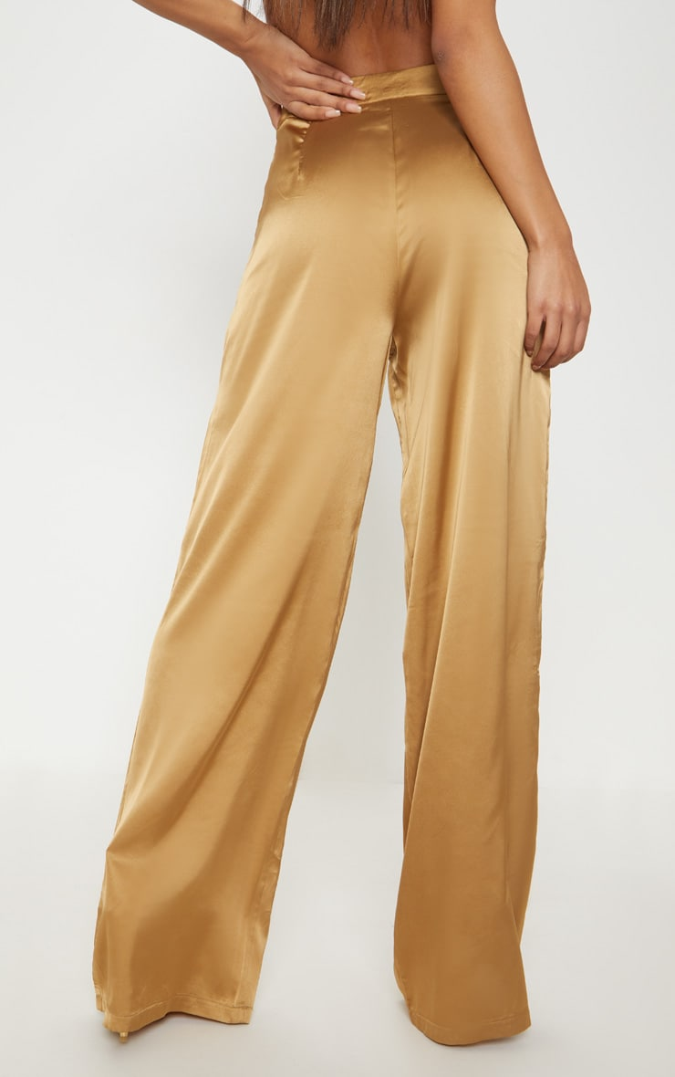 Gold Satin Wide Leg Trouser  4