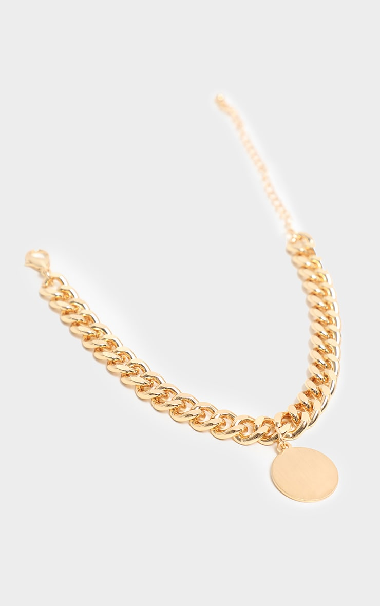 Gold Chunky Chain Disc Charm Anklet 3