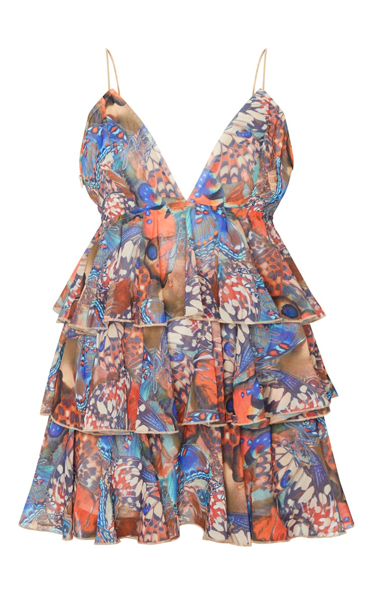 Tan Butterfly Print Tiered Strappy Skater Dress 5