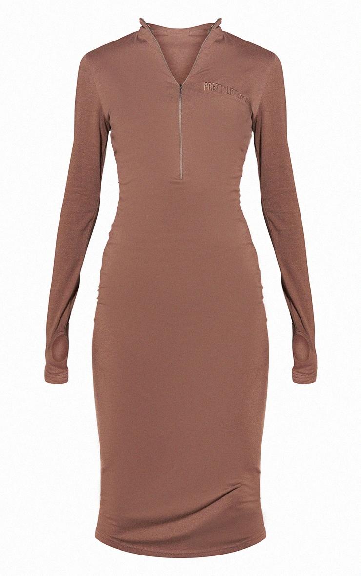 RENEW PRETTYLITTLETHING Light Chocolate Slogan Zip Front Long Sleeve Midi Dress 5