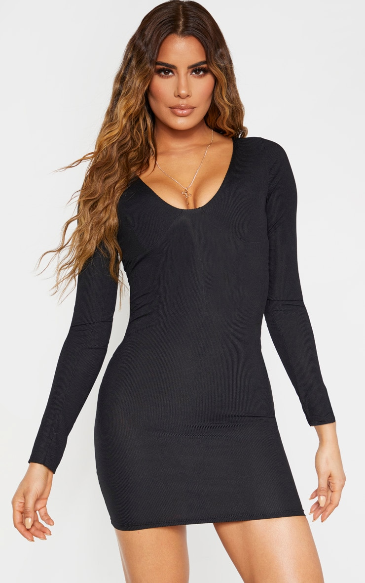 Tall Black Ribbed Cup Detail Long Sleeve Mini Dress 1