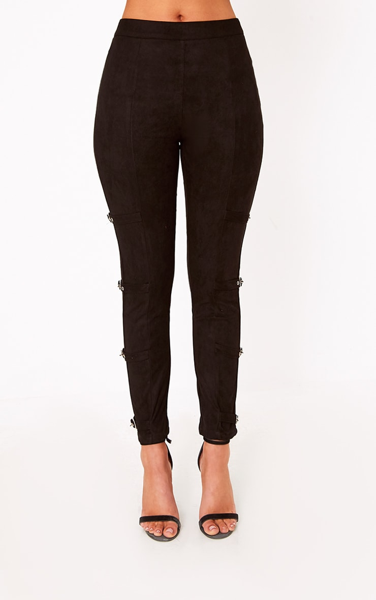 Avi Black Faux Suede Buckle Trousers  2