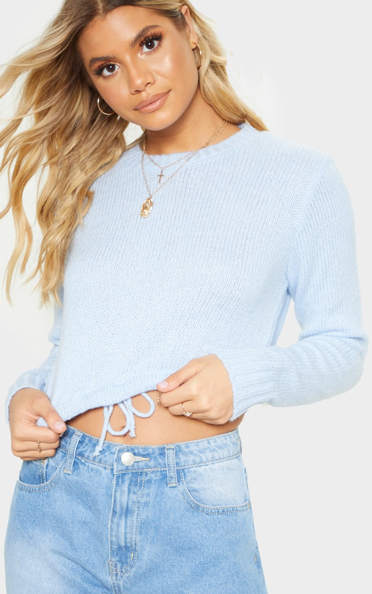 Blue Laguna Ruched Hem Knitted Crop 5