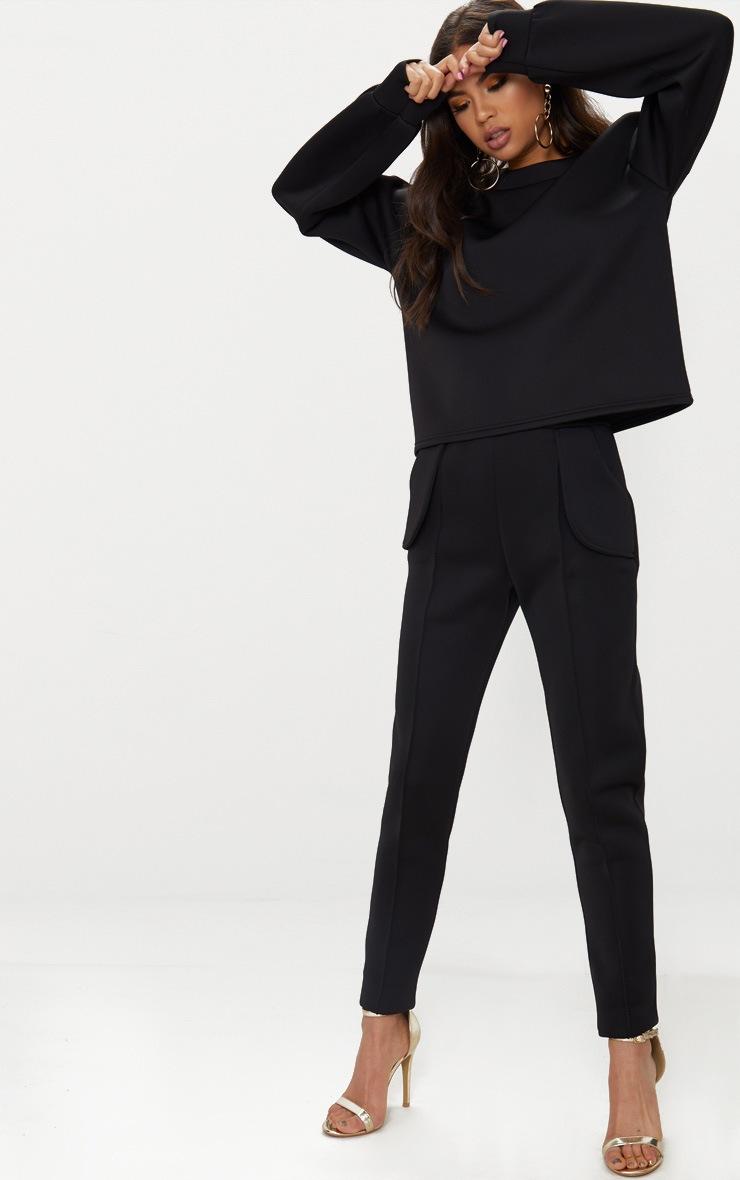 Black Scuba Boxy Sweater  4