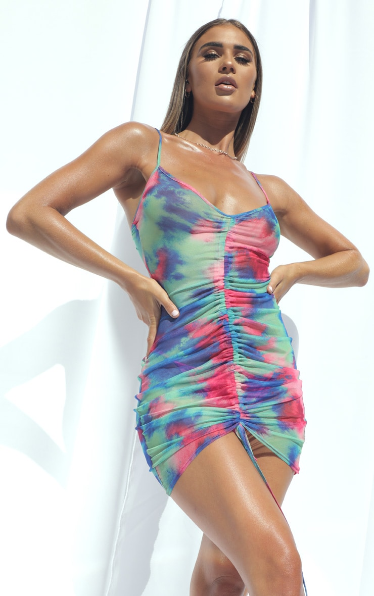 Multi Abstract Print Ruched Mesh Beach Dress 3