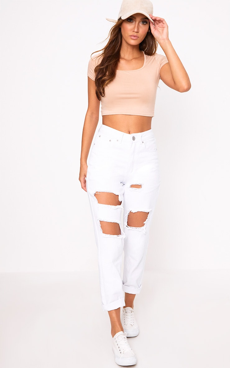 Nude Basic Square Neck Crop Top  4