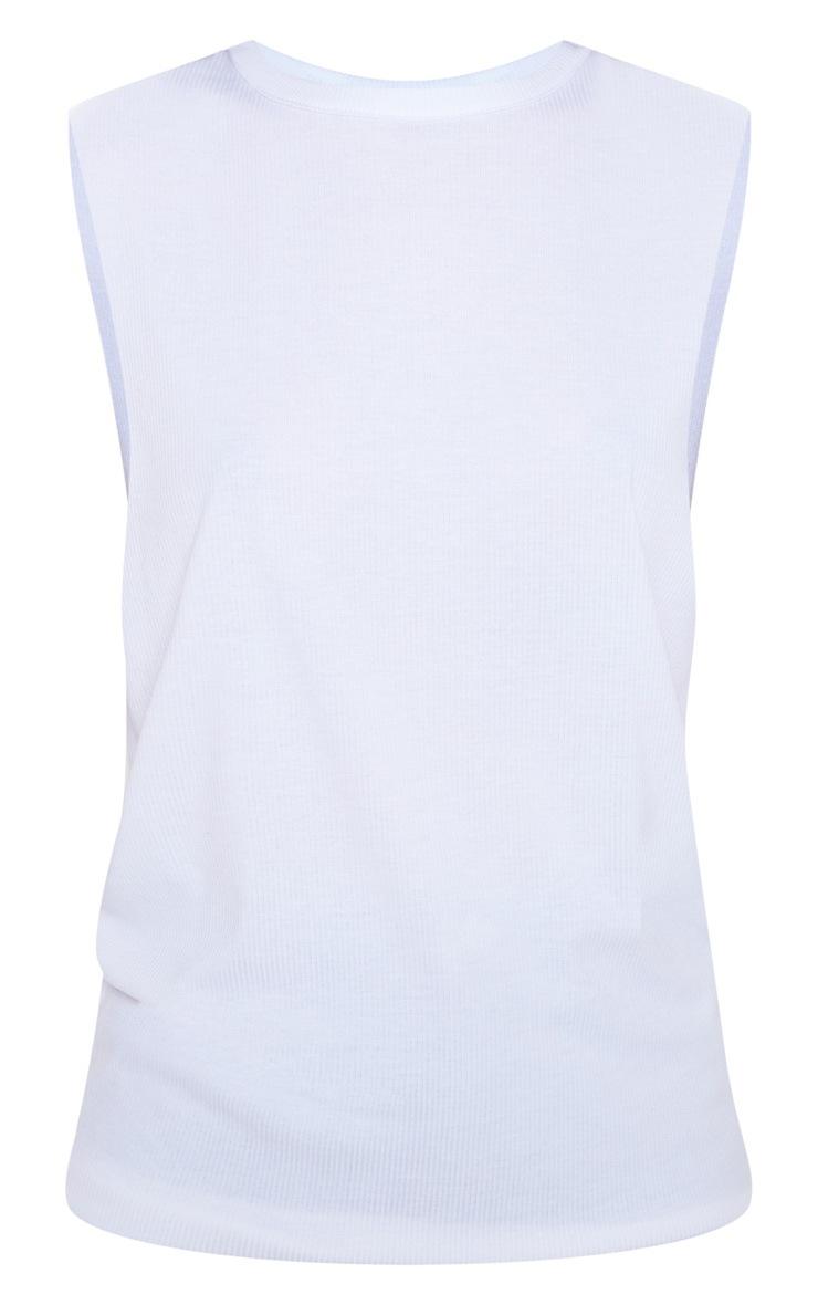 White Soft Rib Oversized Casual Vest 3