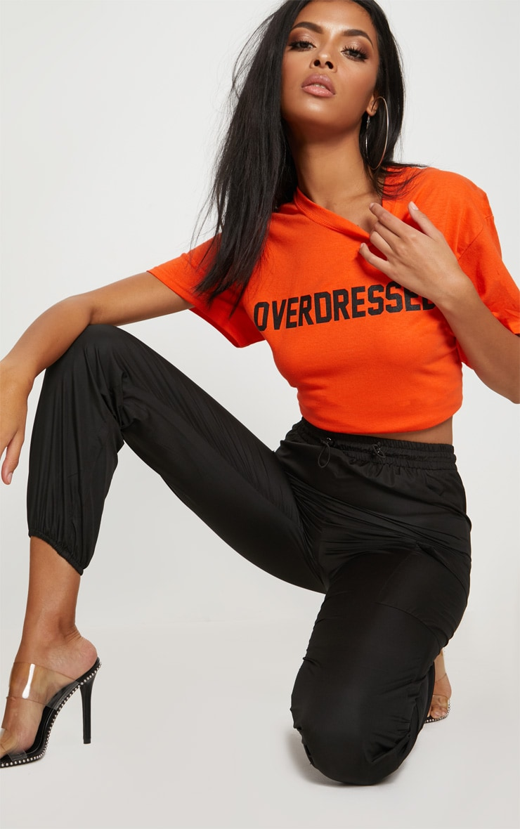Tangerine Overdressed Slogan Oversized T Shirt 4