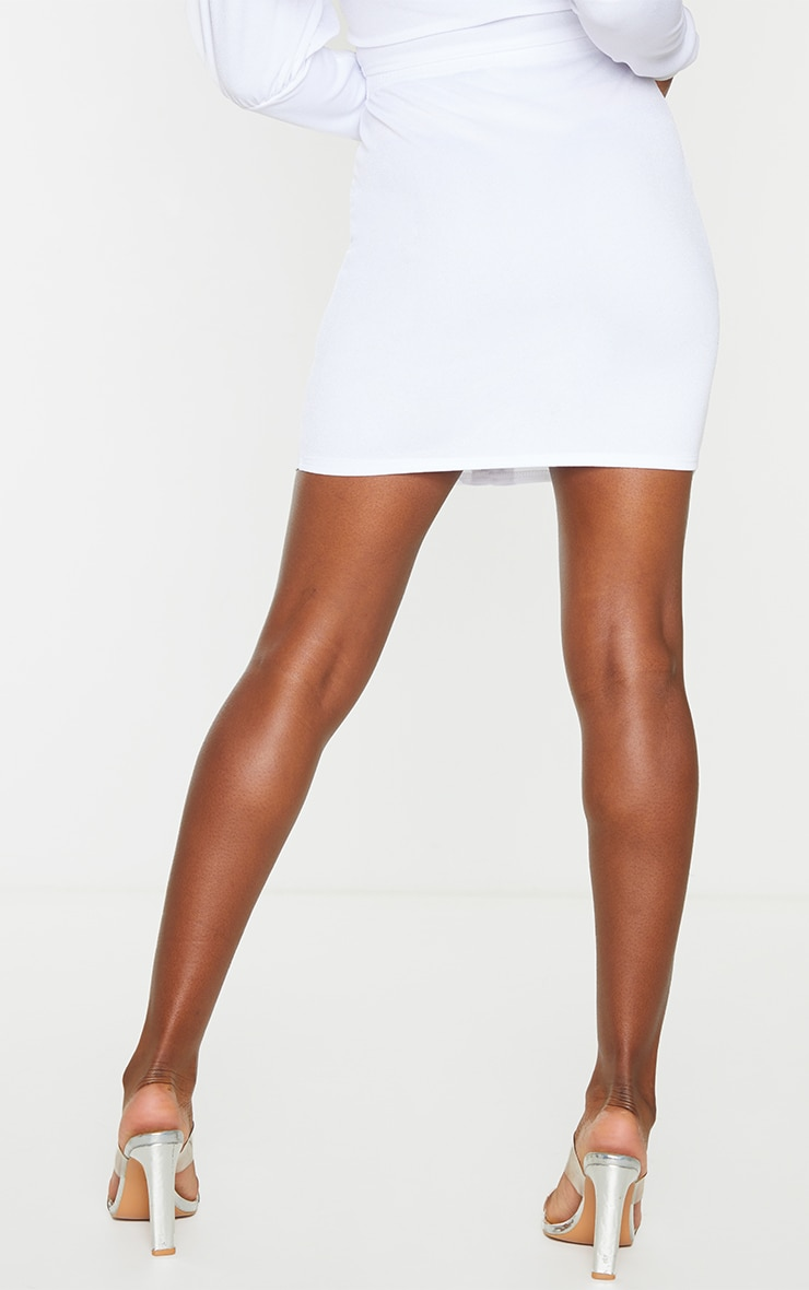 White Hook & Eye Mini Skirt 3