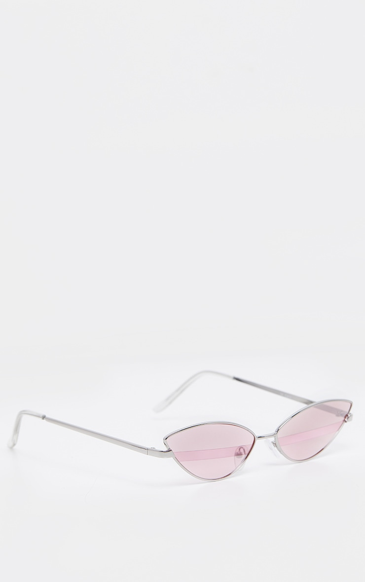 Pink Lens Silver Frame Supper Slim Cateye Sunglasses 3