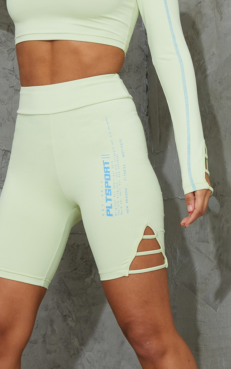 Lime Cut Out Piping Detail Bike Shorts 5