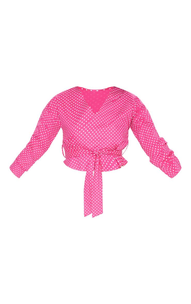 Pink Woven Polka Dot Wrap Tie Blouse 3