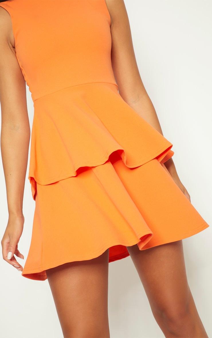 Bright Orange Sleeveless Shoulder Pad Detail Tiered Skater Dress 5
