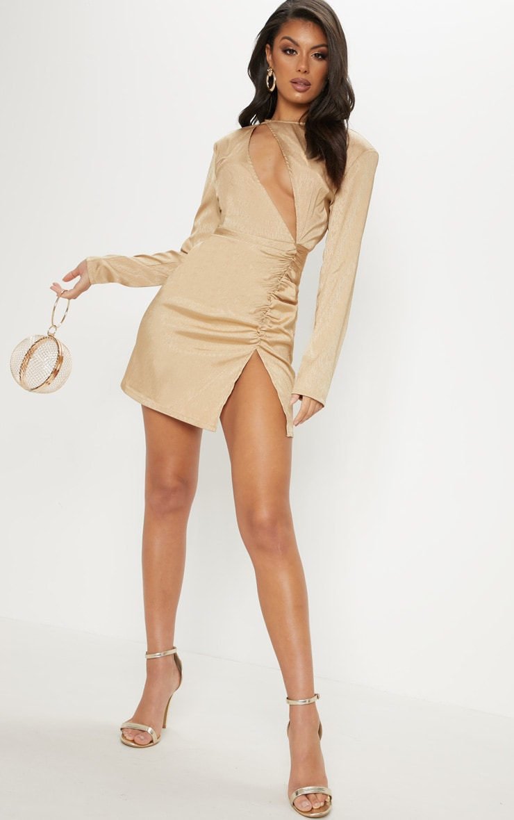 Champagne Satin Extreme Plunge Ruched Bodycon Dress 4
