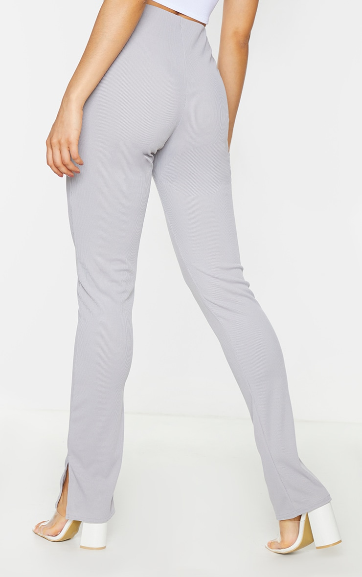 Tall Grey Ribbed Skinny Split Hem Trouser 3