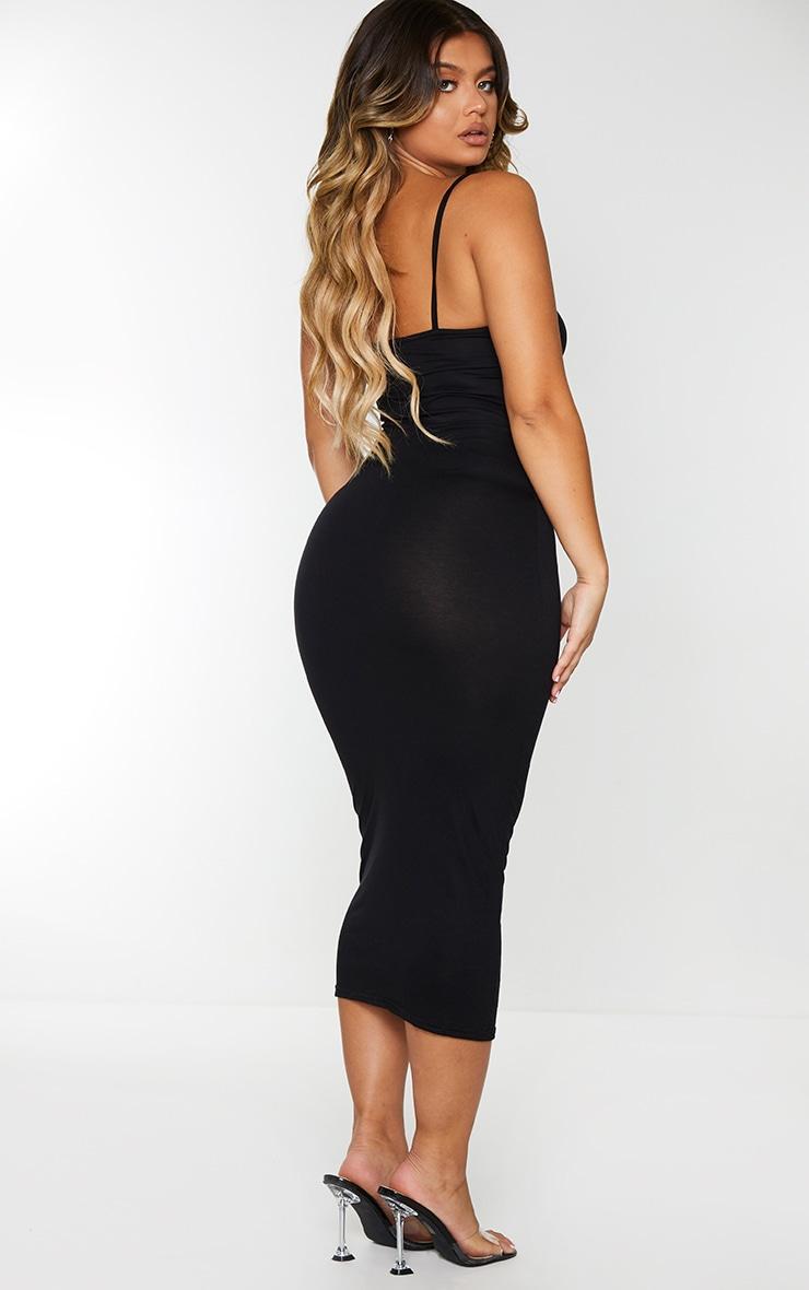 Black Jersey Spaghetti Strap Midaxi Dress 2