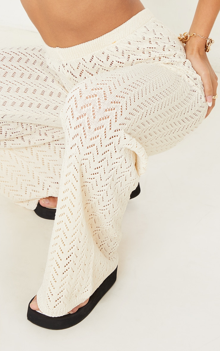 Cream Crochet Knitted Flare Trousers 4
