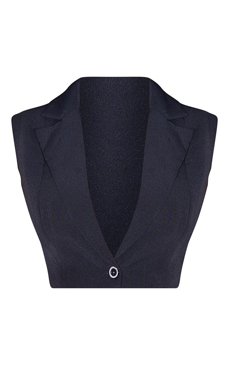 Black Woven Cropped Raw Hem Waistcoat 5